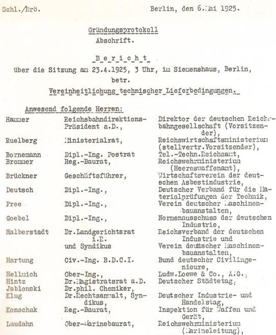 RAL Gründungsprotokoll von 1925 / Ursprünge der Gütesicherung von RAL