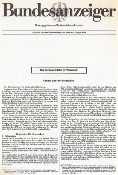 Grundsätze für Gütezeichen im Bundesanzeiger veröffentlicht 1985
