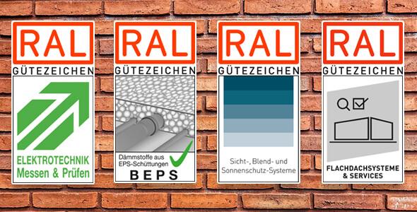 Vier neue RAL Gütezeichen vor Backsteinmauer / Auflistung der Neuheiten 2018